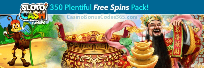 SlotoCash Casino 350 Plentiful FREE Spins Monthly Pack
