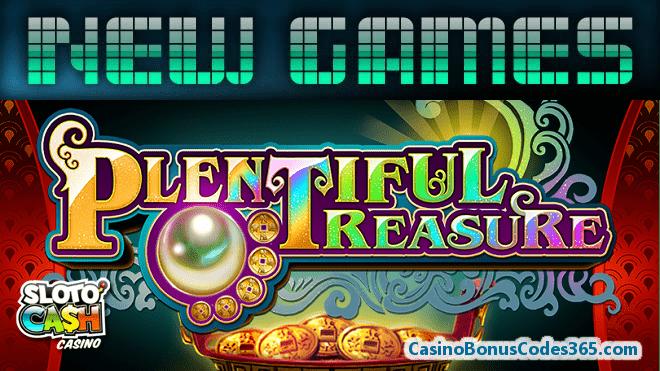 SlotoCash Casino RTG Plentiful Treasure New Game 111% Match Bonus plus 33 FREE Spins