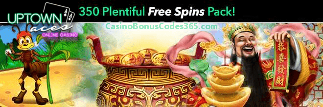 Uptown Aces 350 Plentiful FREE Spins Monthly Pack