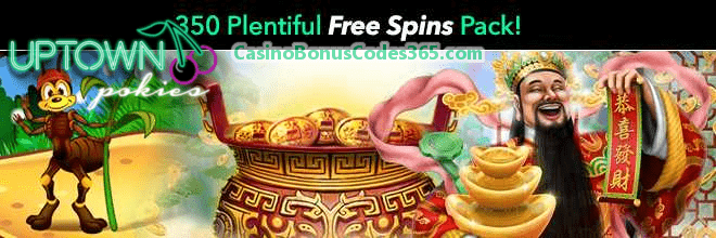 Uptown Pokies 350 Plentiful FREE Spins Monthly Pack