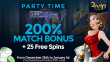 24VIP Casino 200% New Year Bonus plus 25 FREE Spins Offer Rival Gaming Reel Party Platinum