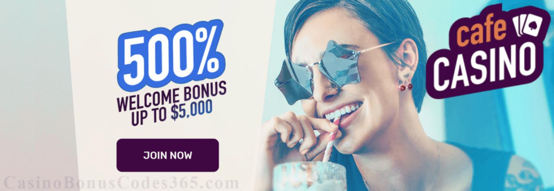 Cafe Casino 500% up to $5000 Welcome Bonus