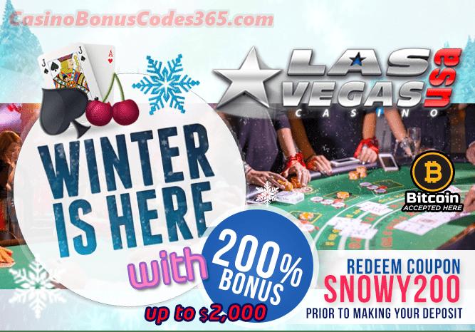 Las Vegas USA Casino 200% Snowy Winter Match Bonus