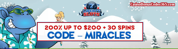 Liberty Slots 200% up to $200 Bonus plus 30 FREE Spins Special Offer Cool Bananas WGS