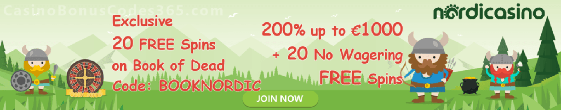 Nordicasino 20 FREE Spins on Book of Dead plus 200% up to €1000 plus 20 no wagering FREE spins