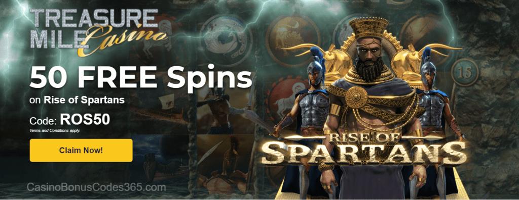 Treasure Mile Casino Saucify Rise of Spartan 50 No Deposit FREE Spins Special Promo