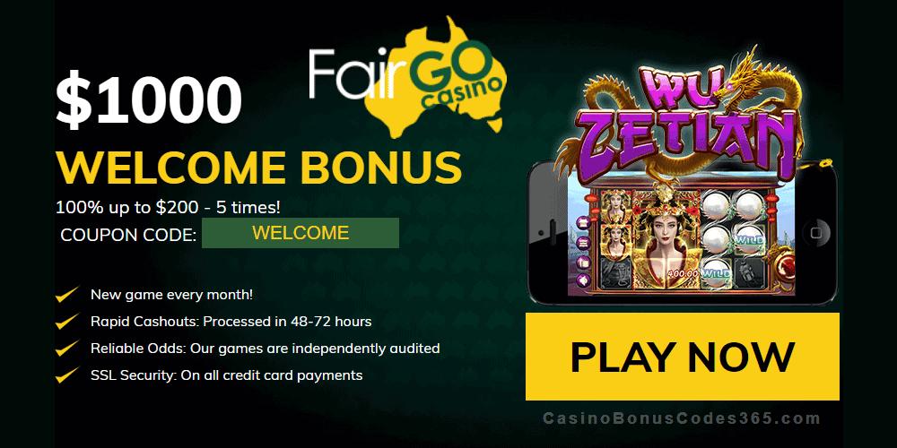 Fair Go Casino RTG Wu Zetian 100% Welcome Bonus
