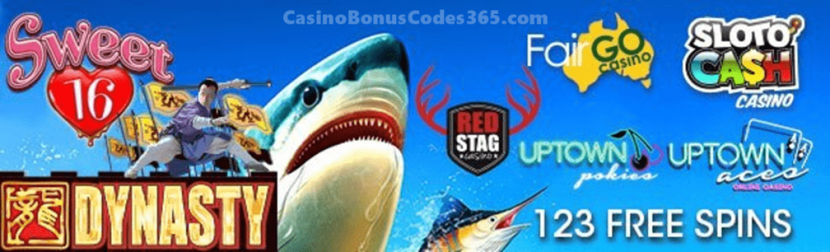 SlotoCash Casino, Uptown Aces, Uptown Pokies, Fair Go Casino and Red Stag Casino 123 FREE Spins RTG Sweet 16 Scuba Fishing WGS Dynasty