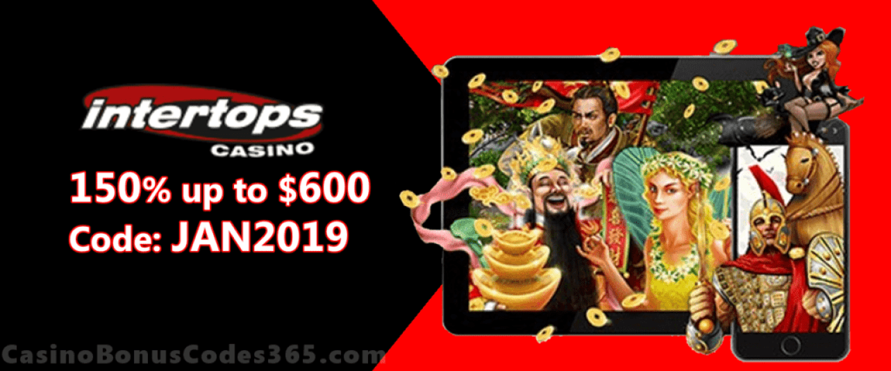 Intertops Casino Red 150% up to $600 Exclusive January Deal