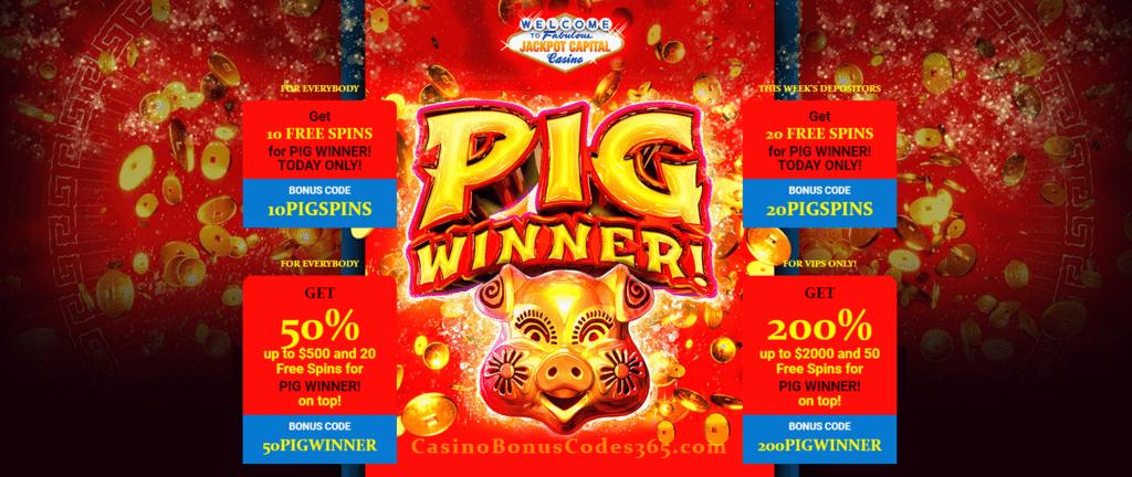 Jackpot Capital New Rtg Game Pig Winner 50 Bonus And 20 Free