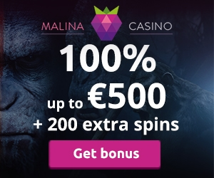 Malina Casino 100 Match Up To 500 Plus 200 Free Spins Welcome