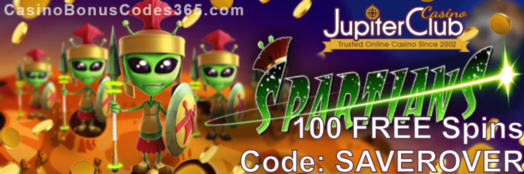 Jupiter Club Casino 100 FREE Spins New Saucify Game Spartians Special Offer