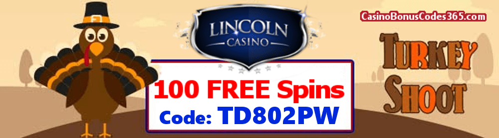Lincoln Casino 100 FREE Spins on WGS Turkey Shoot Special Promo