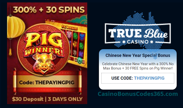 True Blue Casino Special Chinese New Year 300% No Max Bonus plus 30 FREE Spins RTG Pig Winner Offer
