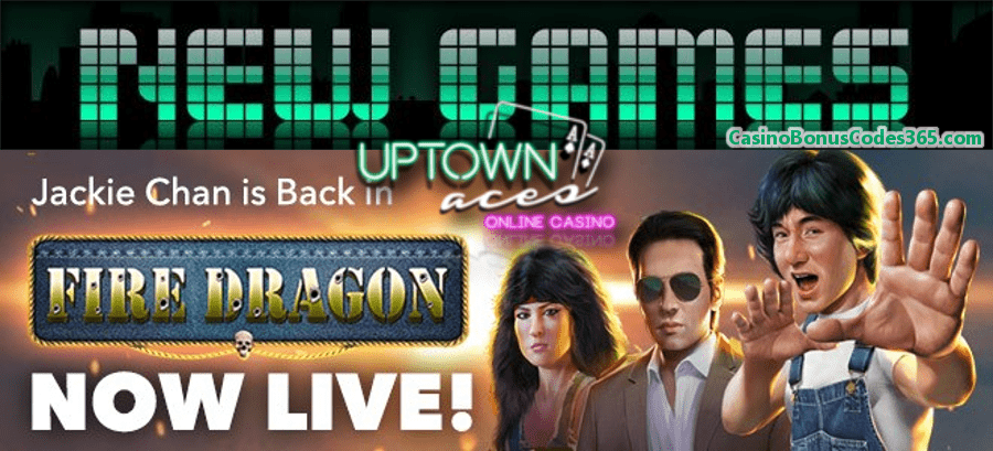 Uptown Aces New RTG Game Fire Dragon 111% Bonus plus 111 FREE Spins