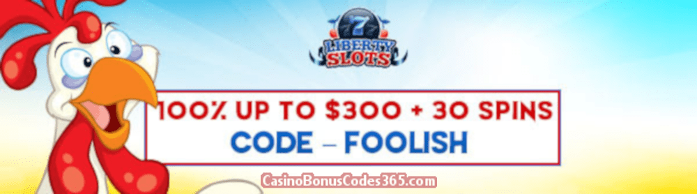 Liberty Slots 100% up to $300 plus 30 FREE WGS Funky Chicken Spins Special Promo