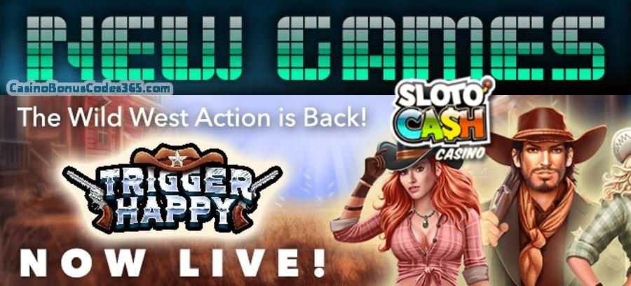 SlotoCash Casino Trigger Happy New RTG Game Promo 111% Bonus plus 111 FREE Spins