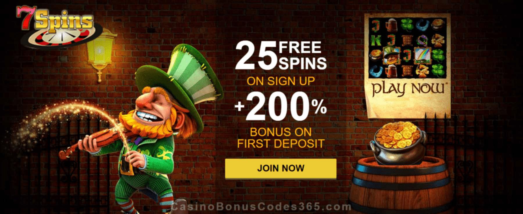 7 Spins Online Casino 25 FREE Spins plus 200% Match Welcome Bonus