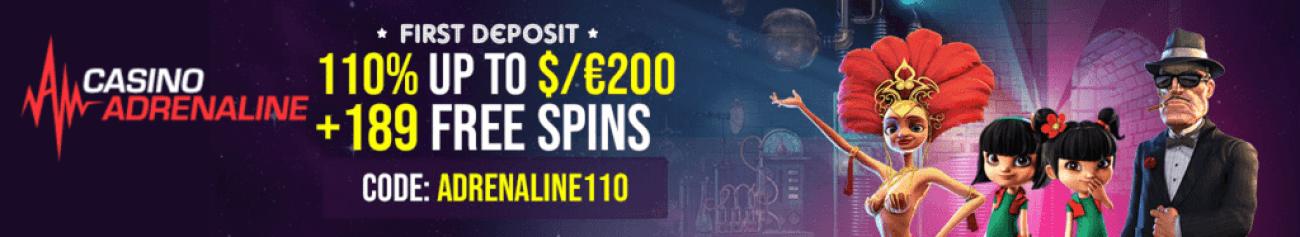 Casino Adrenaline 110% First Deposit Bonus plus 189 FREE Spins Welcome Pack