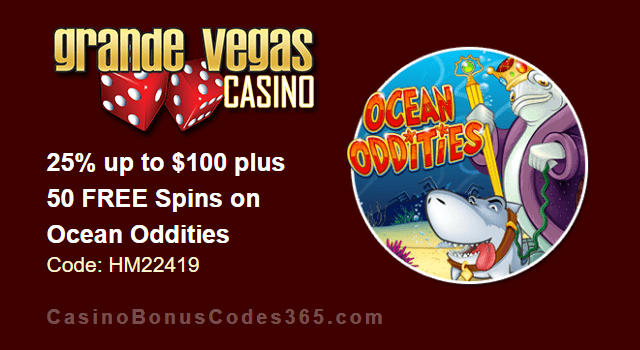 Grande Vegas Casino 25% up to $100 plus 50 FREE Spins on RTG Ocean Oddities Special Promo
