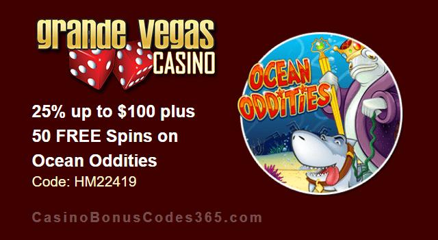 Grande Vegas Casino 25% up to $100 plus 50 FREE Spins on RTG Ocean Oddities Special Promo