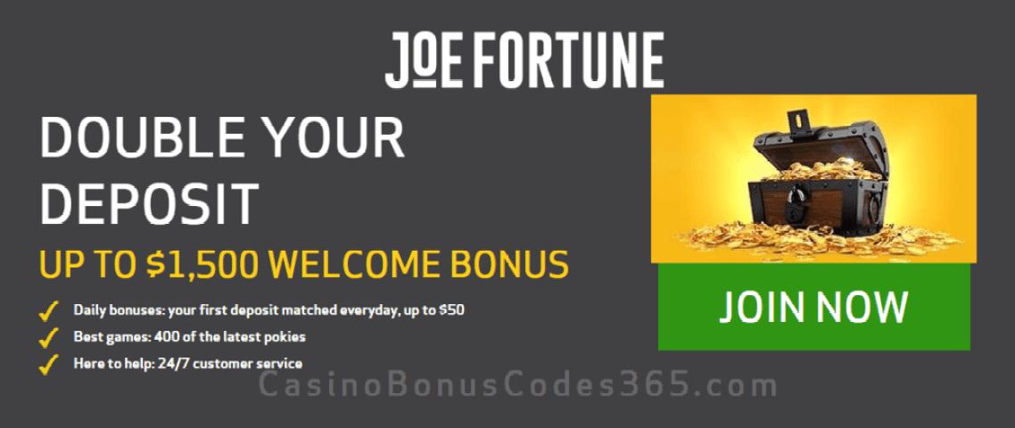 Joe Fortune $1500 Welcome Bonus