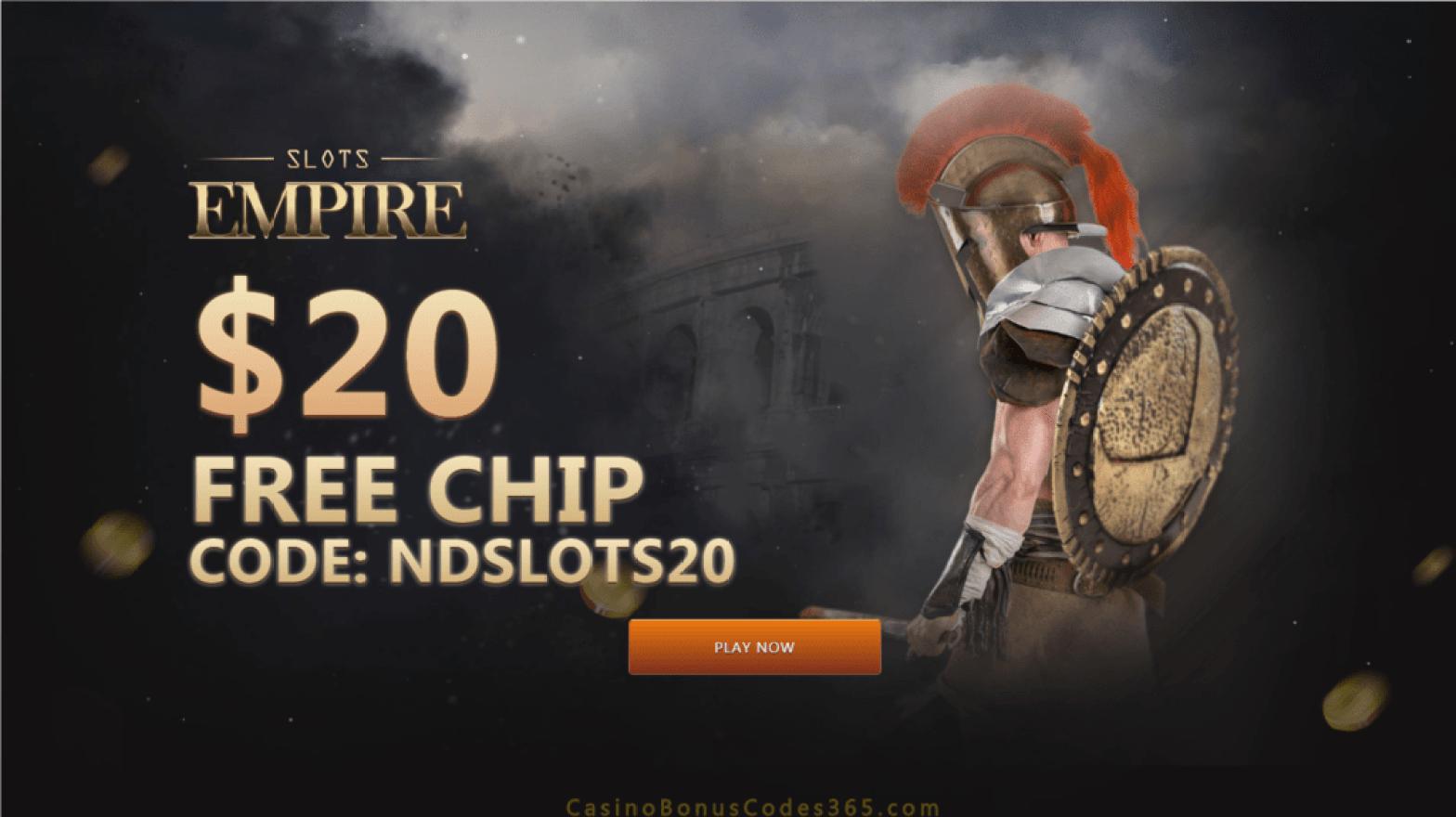 Slots Empire $20 FREE Chip Exclusive Sign Up Bonus