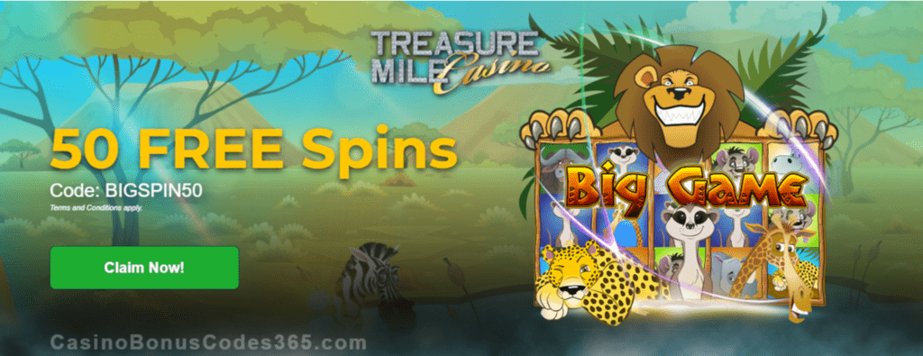 Treasure Mile Casino Exclusive 50 FREE Spins on Saucify Big Game