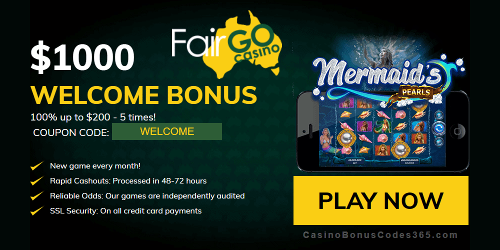 Fair Go Casino RTG Mermaid's Pearls 100% Welcome Bonus