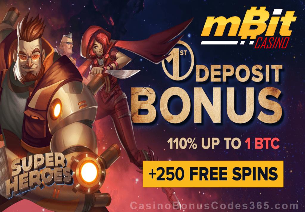 mBit Casino 110% First Deposit Bonus plus 250 FREE Spins