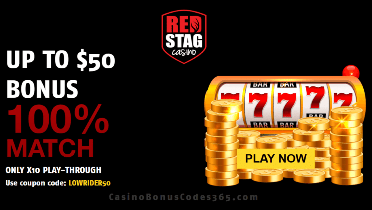 Red Stag Casino 100% Low Playthrough Welcome Bonus