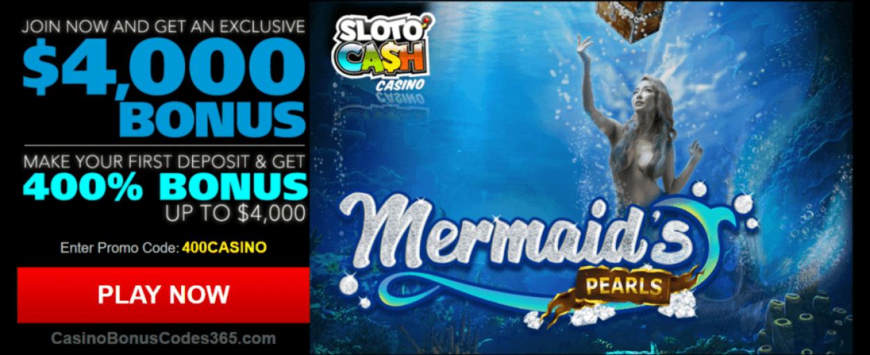 SlotoCash Casino RTG Mermaid's Pearls 400% Welcome Bonus