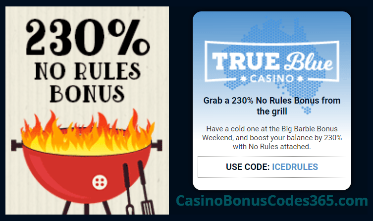 True Blue Casino 230% No Rules Bonus