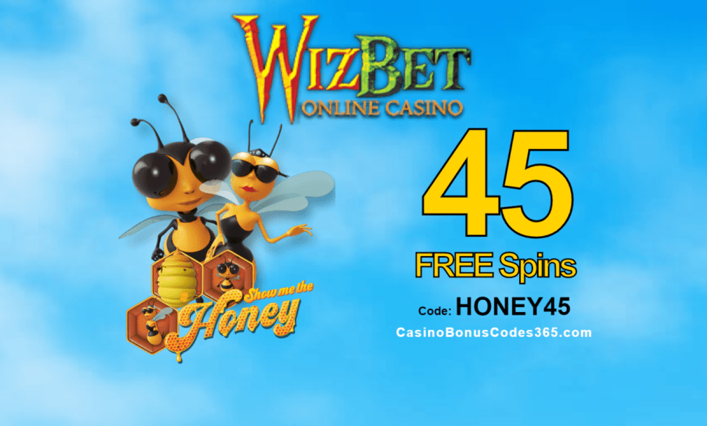 WizBet Online Casino 45 FREE Saucify Show me the Honey Spins Exclusive Deal