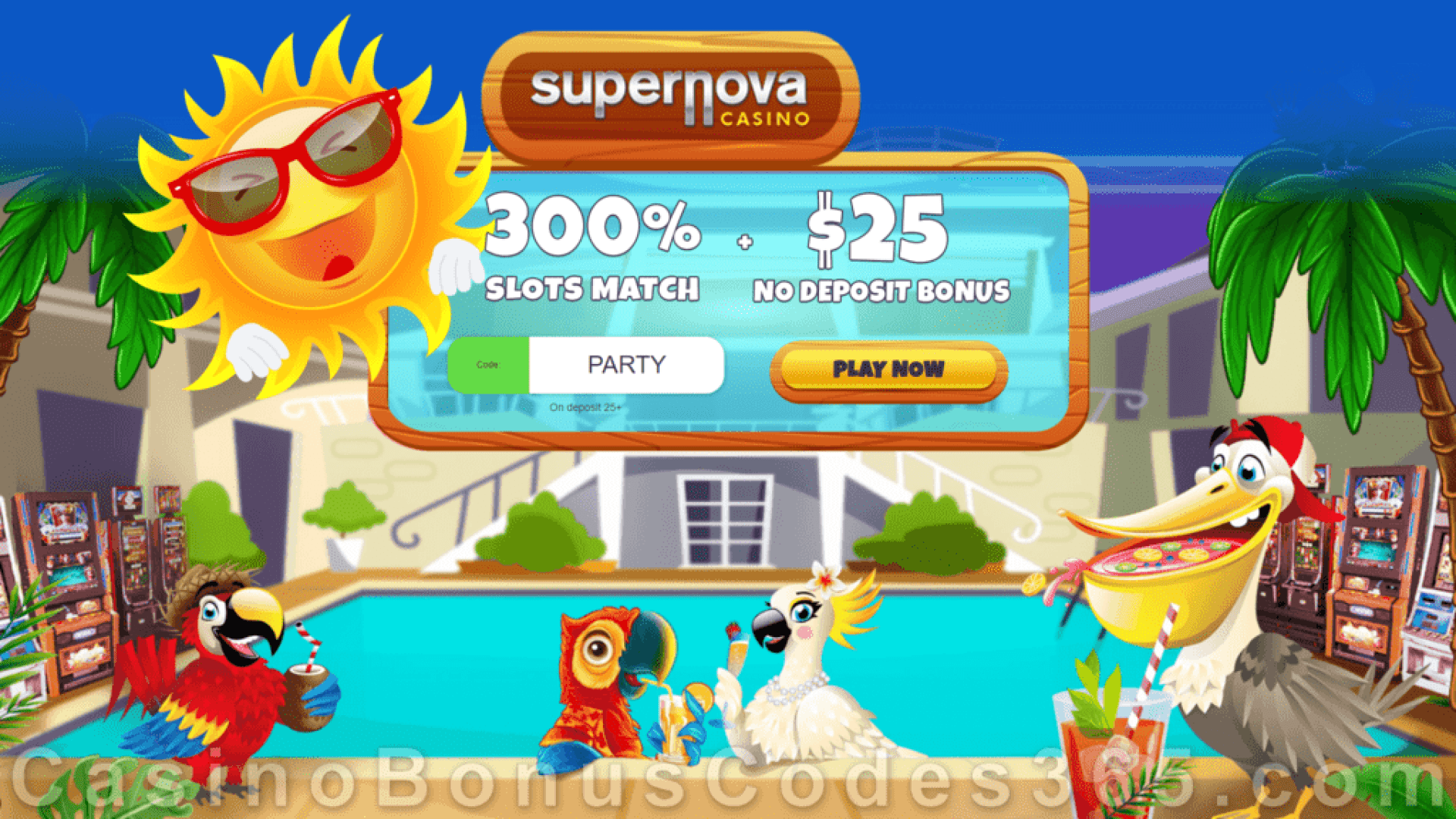 Supernova Casino 300% Match plus $25 No Deposit FREE Chip Summer Promo