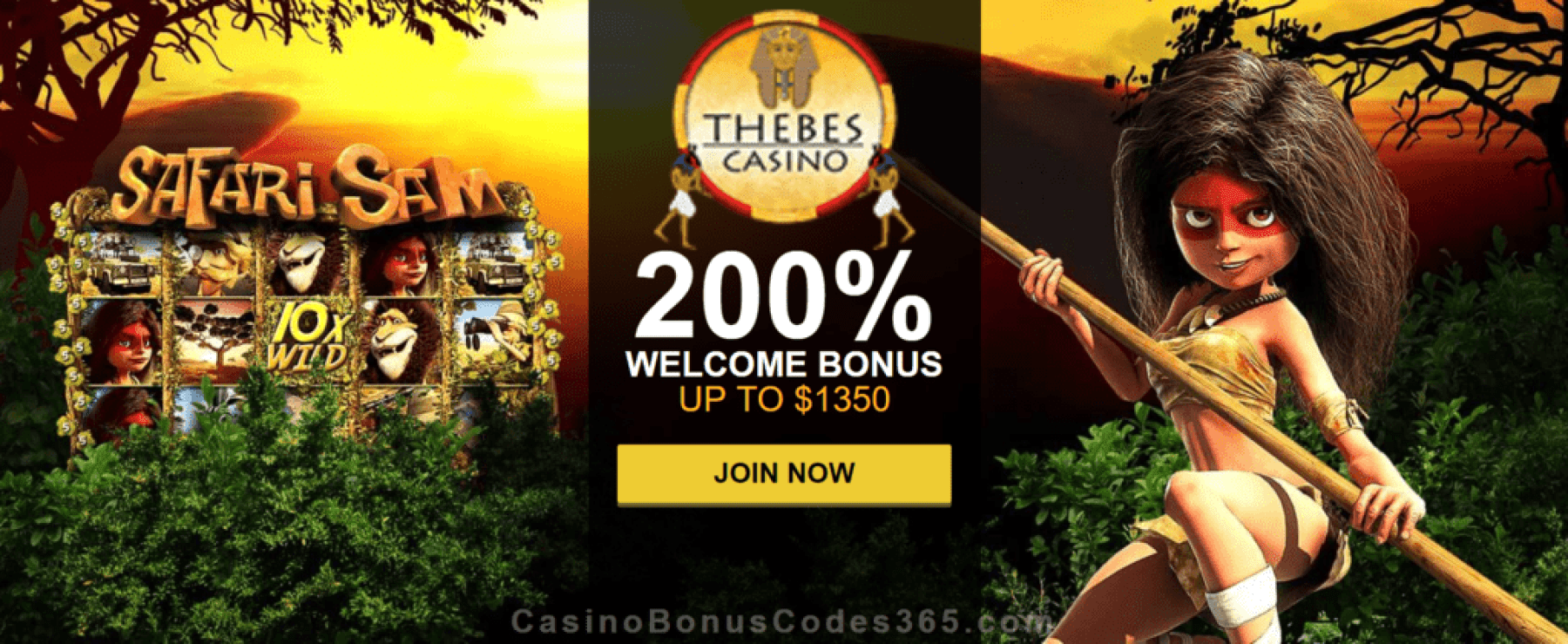Thebes Casino 200% Match Welcome Bonus