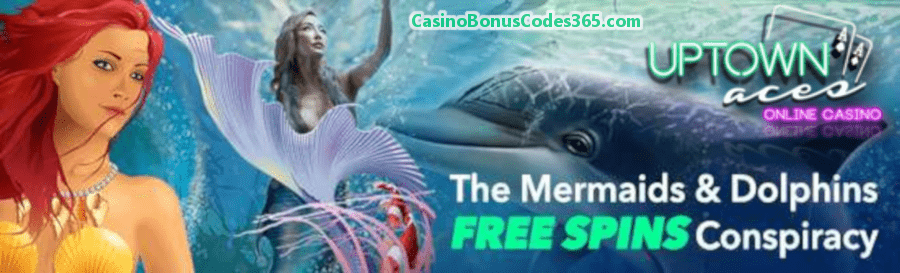 Uptown Aces Mermaids and Dolphins 350 FREE Spins Pack RTG Mermaid's Pearls Mermaid Queen