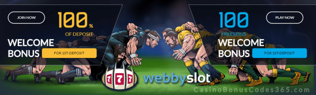 WebbySlot 100% Match Bonus plus 100 FREE Spins Welcome Package