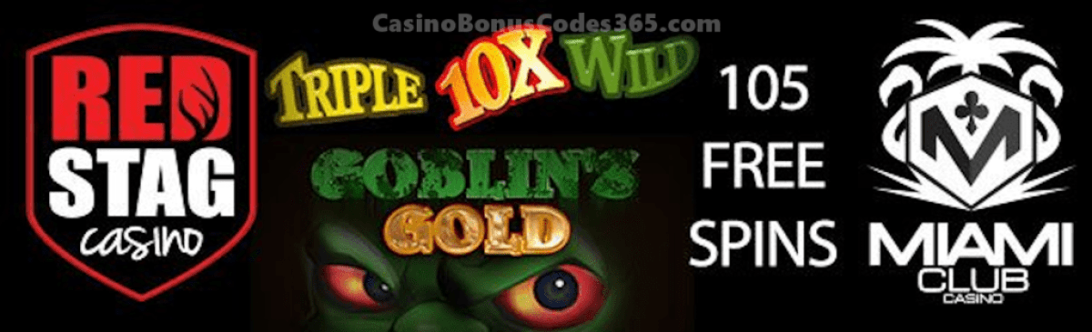 Miami Club Casino Red Stag Casino Huge 105 FREE Spins Deal