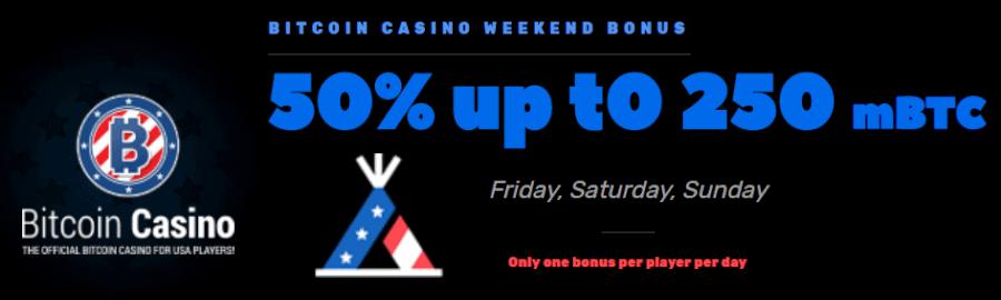 BitcoinCasino.US 50% Weekend Bonus