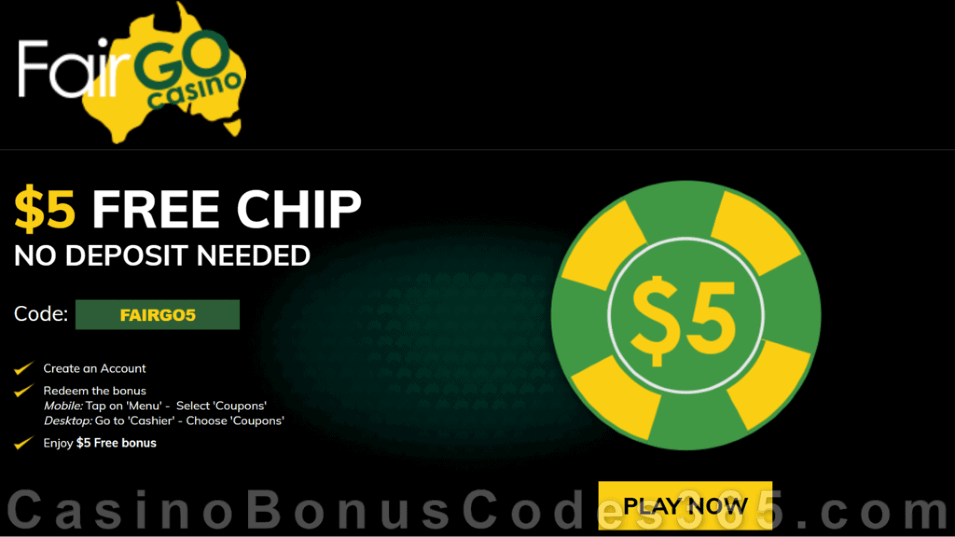 Fair Go Casino $5 FREE Chip No Deposit Welcome Bonus