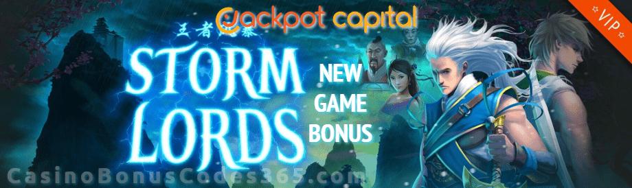Jackpot Capital Storm Lords 50% Bonus New RTG Game Offer