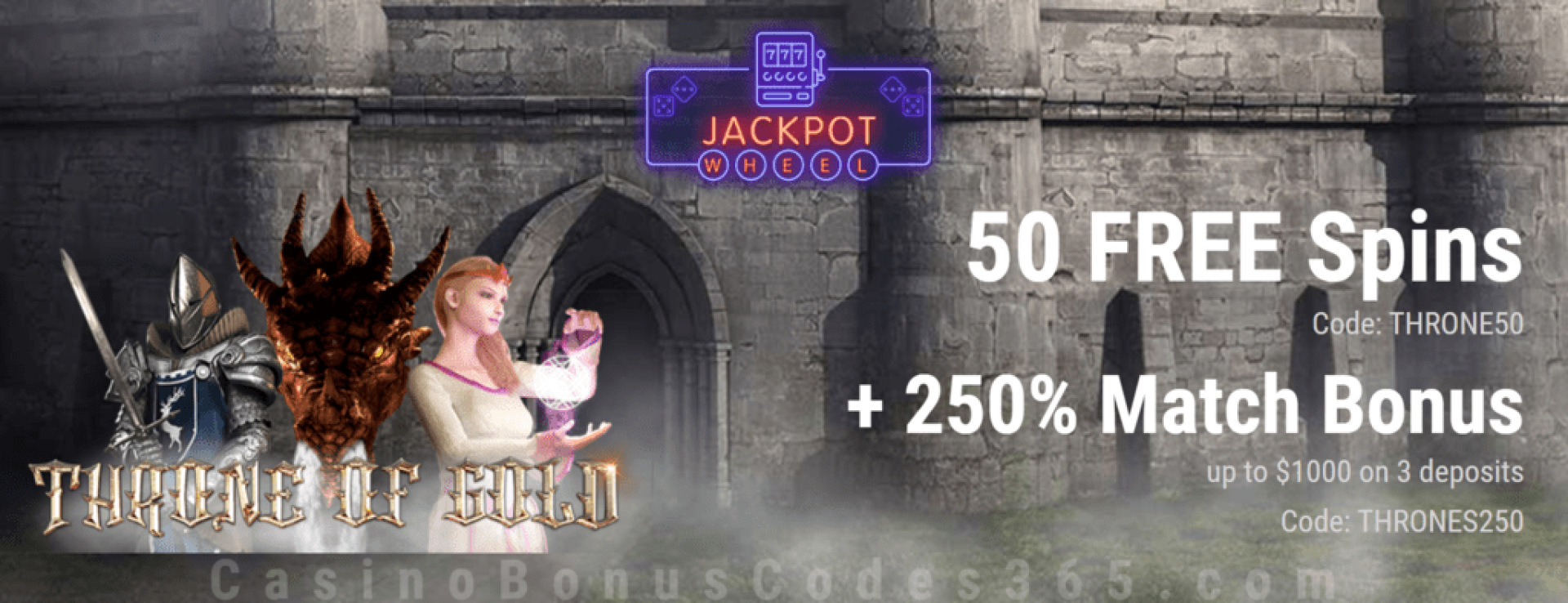 Jackpot Wheel 50 FREE Saucify Throne of Gold Spins plus 250% Match Exclusive Welcome Deal