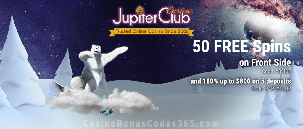 Jupiter Club Casino 50 FREE Frontside Spins plus 180% Match Welcome Bonus