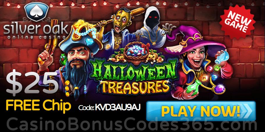 Silver Oak Online Casino New RTG Game Halloween Treasures Special No Deposit Deal