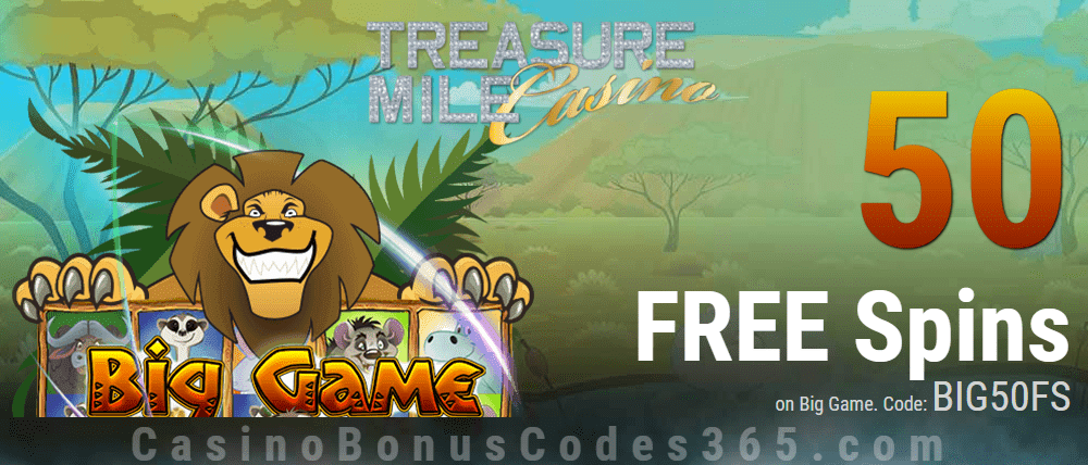 Treasure Mile Casino 50 FREE Big Game Spins Exclusive Offer