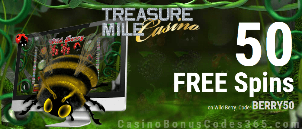 Treasure Mile Casino Exclusive 50 FREE Saucify Wild Berry Spins Special Deal