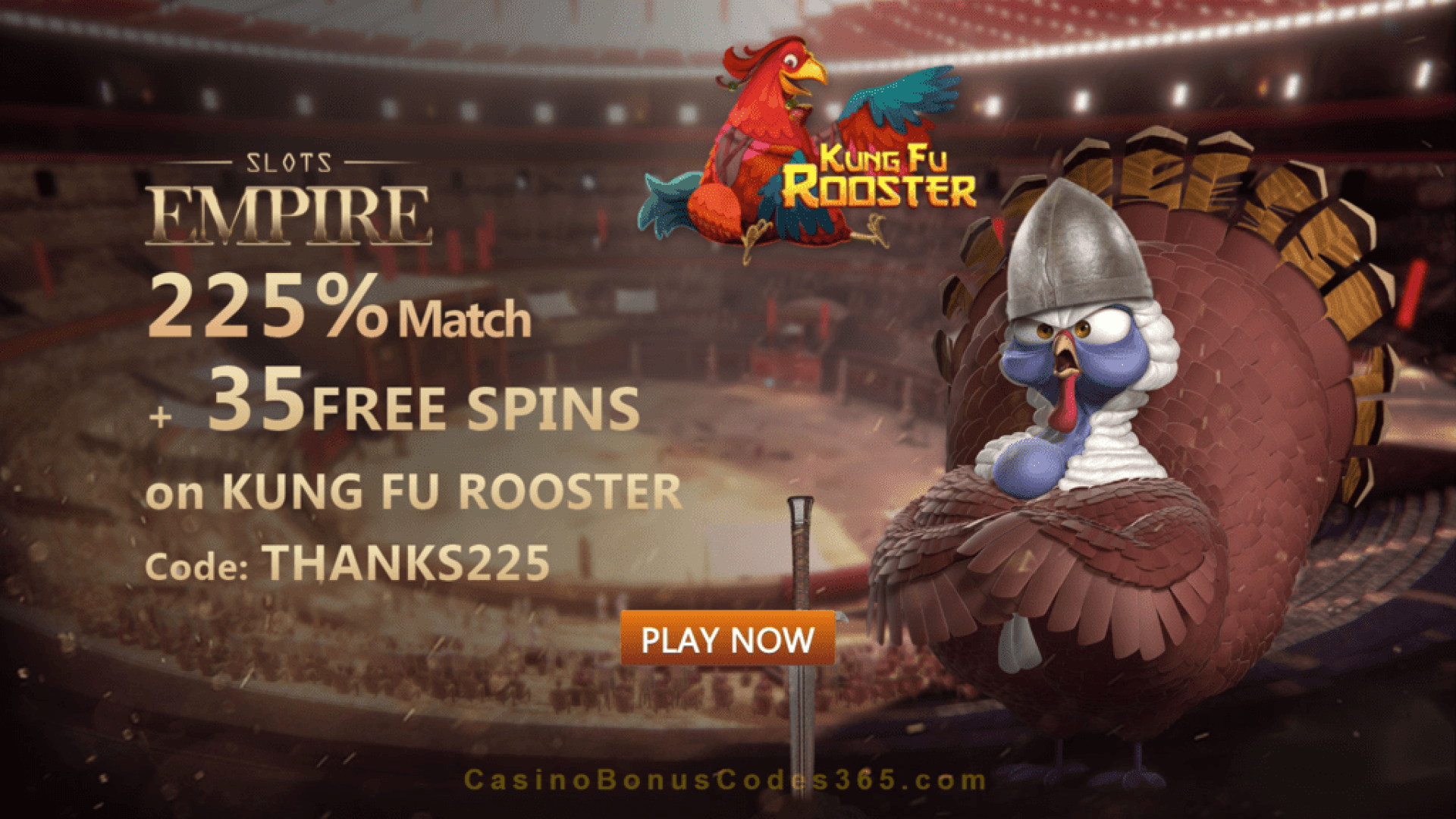 Slots Empire 225% Match Bonus plus 35 FREE Spins on RTG Kung Fu Rooster Welcome Pack