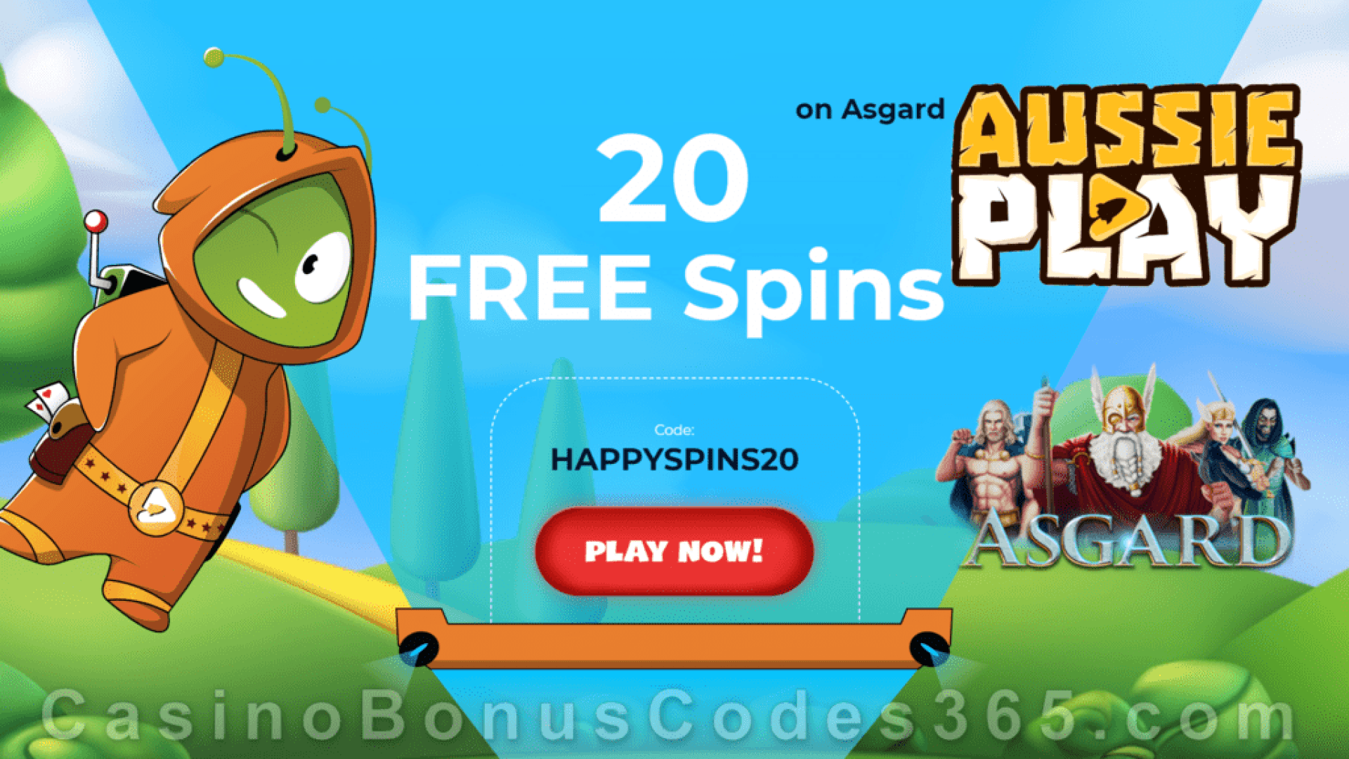AussiePlay Casino 20 FREE Spins on RTG Asgard Sign Up Offer