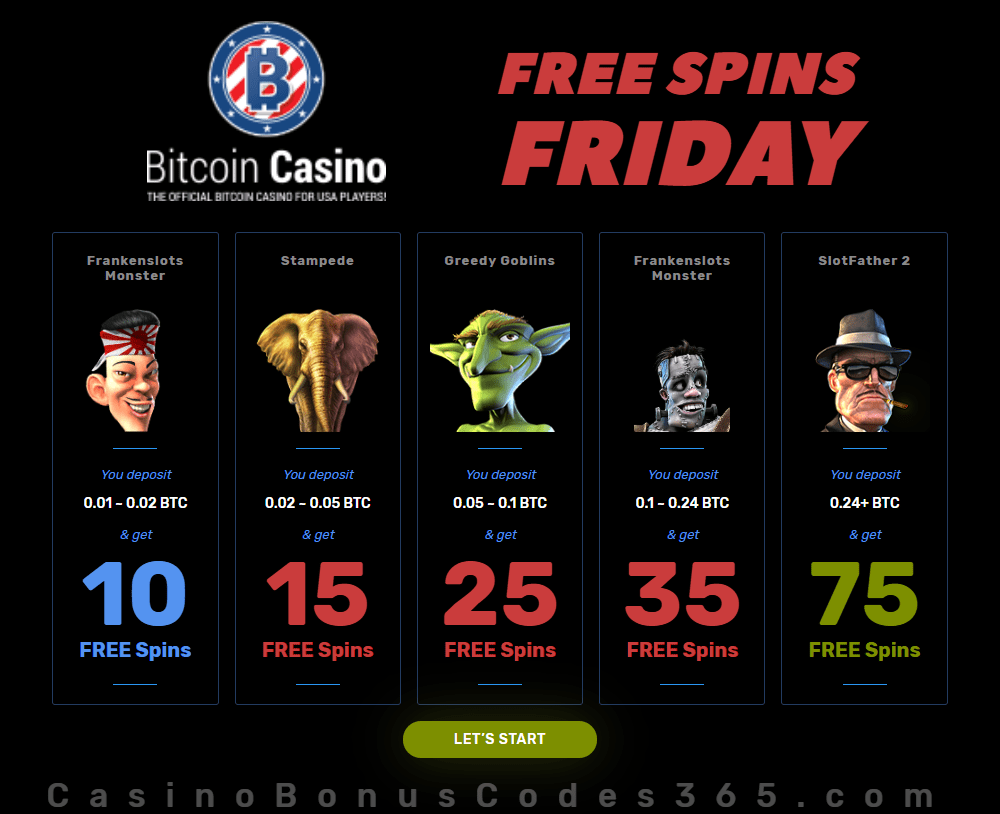 BitcoinCasino.US FREE Spins Friday